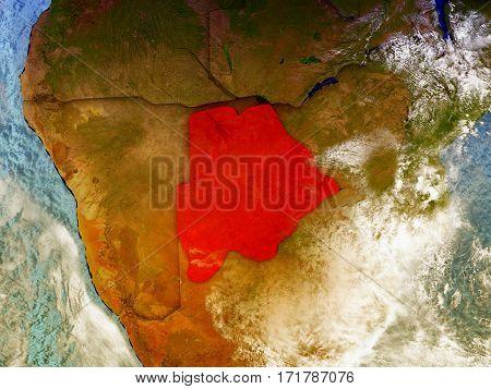 Botswana On Illustrated Globe