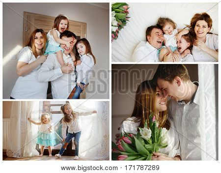 Happy family. Love and tenderness. Young couple with two charming daughters in anticipation of the birth of the third child.
