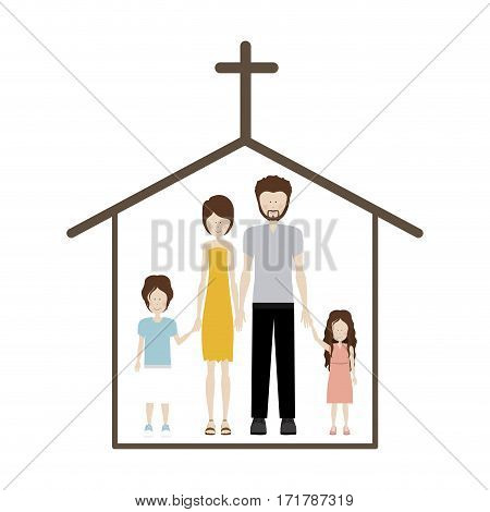 people couple with their children icon, vector illustration image