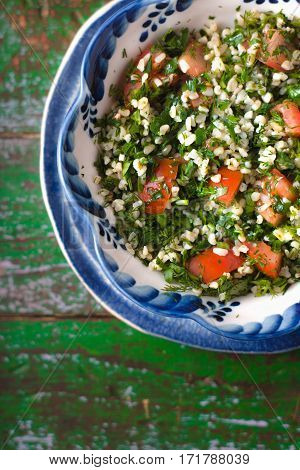 Tabbouleh Salad with tomato bulgur and parsley cuscus horizontal