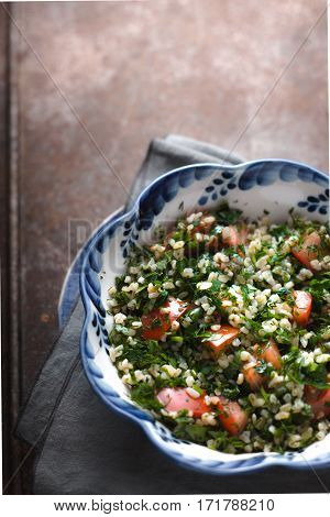 Salad with bulgur green mint bulgur vertical
