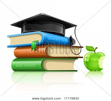pile of school books with professor's cap and apple - vector illustration, isolated on white background