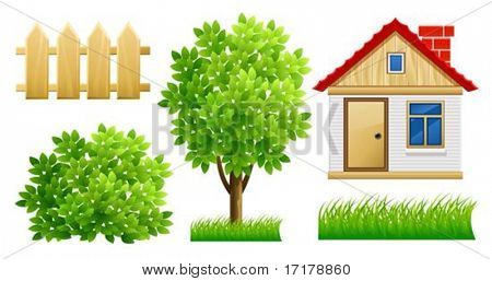 elements of green garden with house and fence - vector illustration, isolated on white background