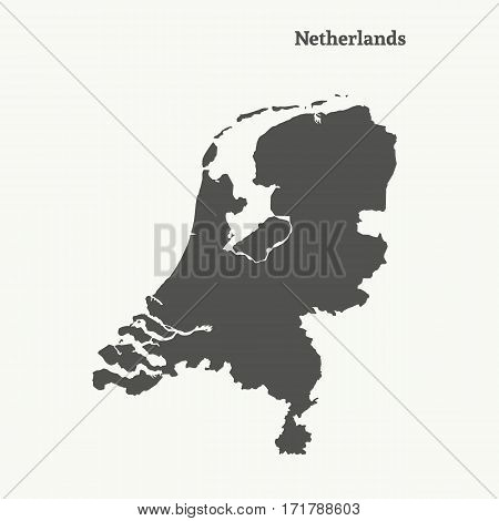 Outline map of Netherlands. Isolated vector illustration.