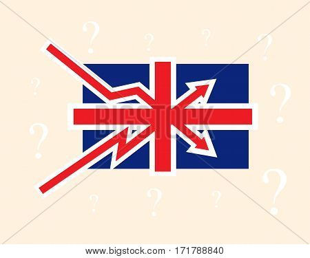 Breaking up and down trends as British flag Great Britain political economical crisis symbol with question mark on background. Vector concept illustration.