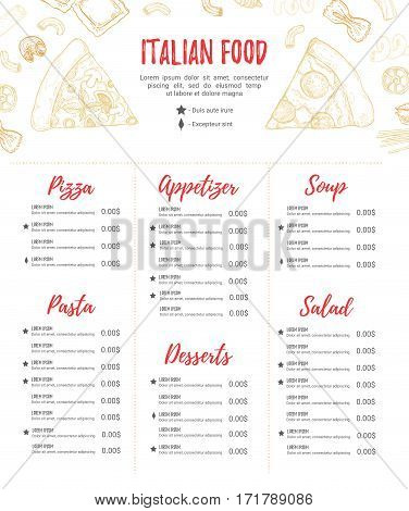 Hand Drawn Vector Illustration - Italian Menu. Pasta And Pizza. Perfect For Restaurant Brochure, Caf