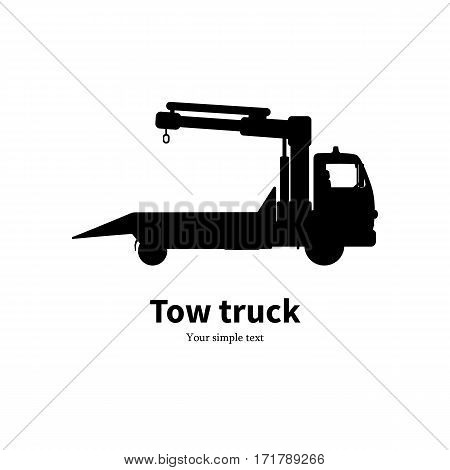 Vector illustration black silhouette of a wrecker. Isolated white background. The concept of service of evacuation. Wrecking car side view profile. Icon logo tow truck. Car evacuator. Vehicle towing.