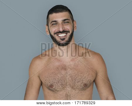 Caucasian Topless Man Smiling Pose
