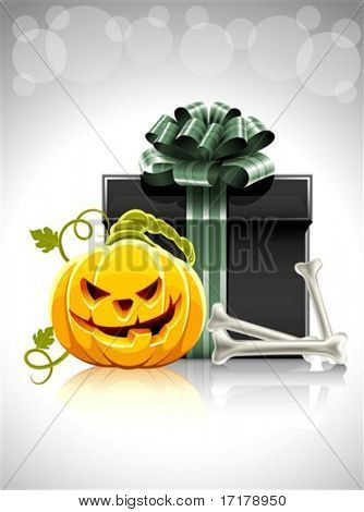 pumpkin head with bone and gift for halloween vector illustration