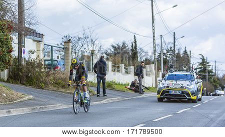 Conflans-Sainte-HonorineFrance-March 62016: The French cyclist Alexandre Pichot of Direct Energie Team riding during the prologue stage of Paris-Nice 2016.