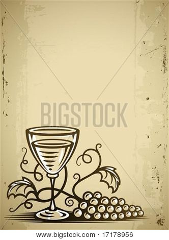 glass with wine and grapes vine on grunge background vector illustration