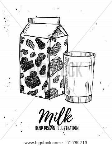 Hand Drawn Vector Illustration - Milk Products. Design Elements In Sketch Style. Perfect For Brochur