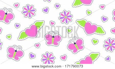 seamless pattern of cute romantic stickers, design for girls