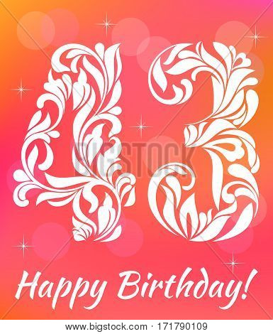 Bright Greeting Card Template. Celebrating 43 Years Birthday. De