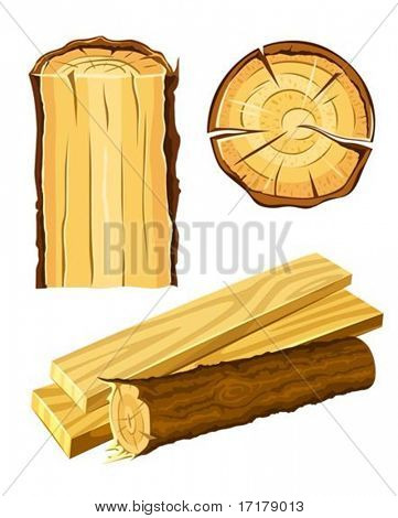 set of wooden materials - wood and board vector illustration isolated on white background