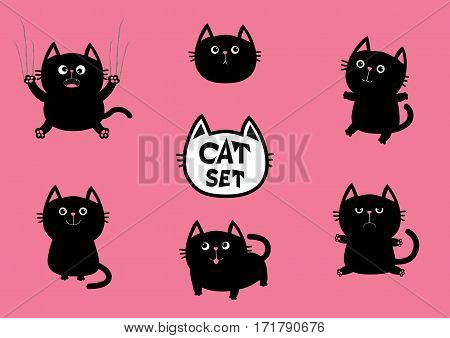 Black fat cat set. Cute cartoon screaming funny character. Nail claw scratch sitting smiling. Excoriation track line. Baby pet collection. Pink background. Isolated. Flat design Vector illustration
