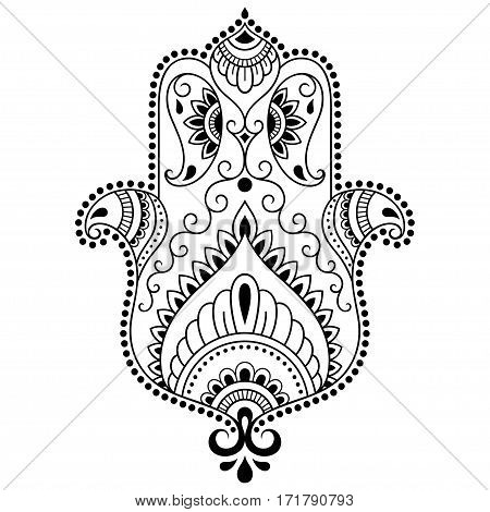 Hamsa hand drawn symbol. Decorative pattern in oriental style for the interior decoration and drawings with henna. The ancient symbol of the