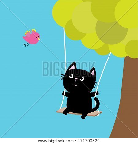 Cat ride on the swing. Green tree. Flying pink bird. Cute fat cartoon character. Kawaii baby pet collection. Love card. Flat design. Funny kids style. Blue sky background Isolated. Vector illustration