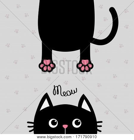 Black cat Funny face head silhouette. Meow text. Hanging fat body with paw print tail. Cute cartoon character. Kawaii animal. Baby card. Pet collection. Flat design Gray background. Isolated. Vector