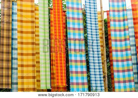 Colorful loincloth fabric in Thai style background