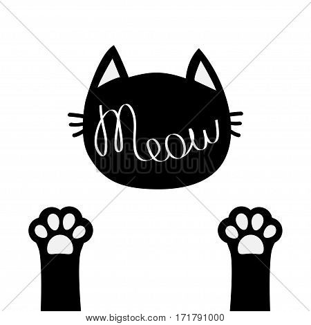 Black cat head. Meow lettering contour text. Two paw print leg foot. Cute cartoon character silhouette. Kawaii animal. Baby pet collection. Sign Symbol. Flat design. White background Isolated. Vector