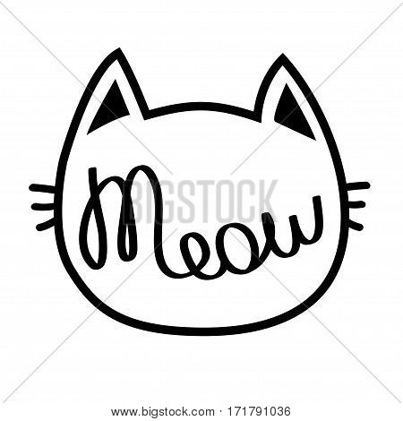 Black cat contour head. Meow lettering text. Cute cartoon character silhouette. Kawaii animal. Baby pet collection. Sign Symbol. Flat design style. White background. Isolated. Vector illustration