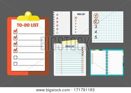 Agenda list concept vector illustration. Business paper clipboard in flat style. Self-adhesive notes color hand article. Important template advice page.