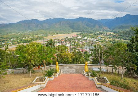 View from Wat Phra That Doi Kong Mu in Mae Hong Son, Thailand.