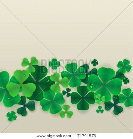 Background green leaves of clover. Isolated vector illustration