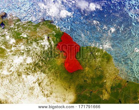 Guyana On Illustrated Globe