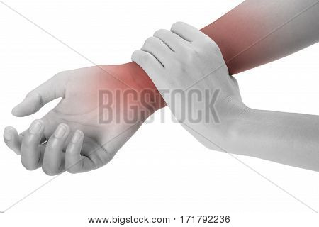 woman holding her beautiful healthy wrist healthy in front side and massaging in pain area black and white color with red highlighted Isolated on white background.
