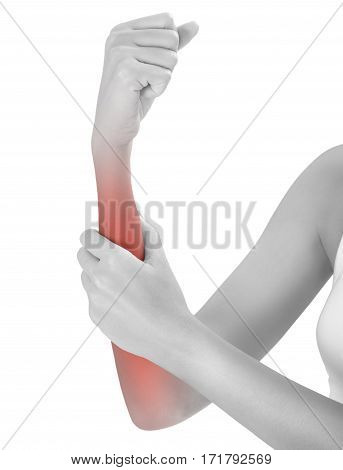 woman hand holding beautiful healthy arm and massaging her forearm in pain area black and white color with red highlighted Isolated on white background.