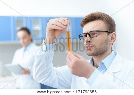 Man scientist in eyeglasses and white coat examining test tube with reagent in lab