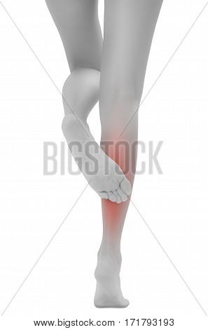 Asian woman crossing her beautiful healthy long leg and treatment calf in pain area with back side black and white color with red highlighted Isolated on white background.