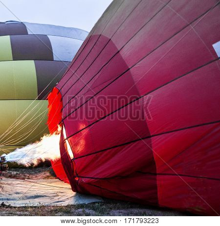 Inflation of balloons - preparation pump for flight