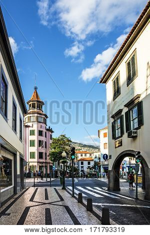 Funchal, Madeira - Jan 9, 2017: Street of Funchal in Madeira island, Portugal