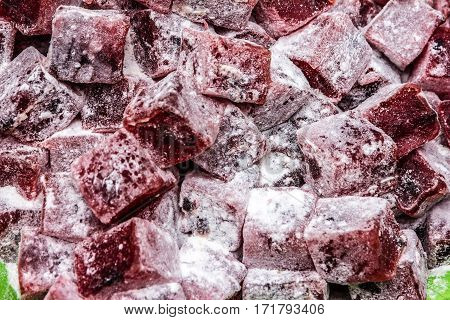 Turkish delights, Rahat lokum sweet food background.