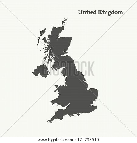 Outline map of United Kingdom. Isolated vector illustration.