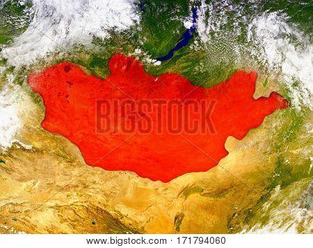 Mongolia On Illustrated Globe
