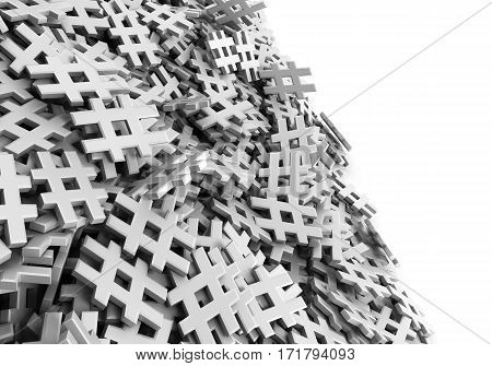 Infinite White Hash Tag On A Plane Original 3D Rendering Illustration