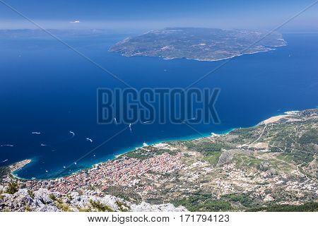 Croatia, Dalmatia. Adriatic Sea panoramic landscape - Makarska resort