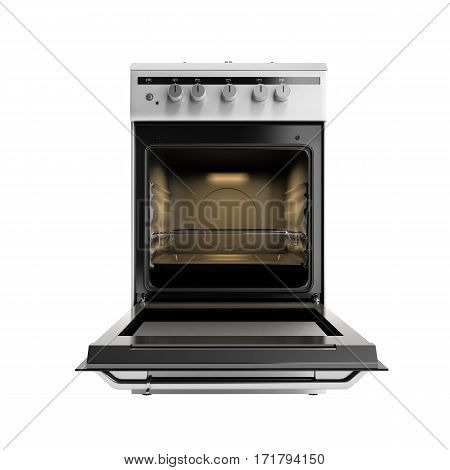 Open Gas Stove 3D Render Isolated No Shadow