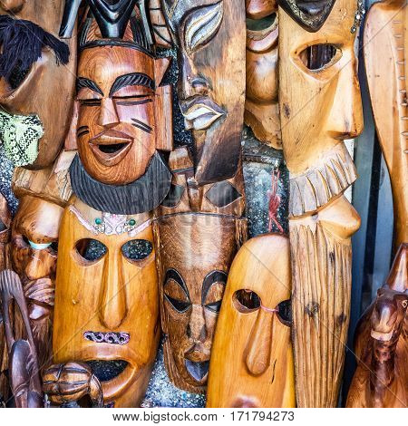 African masks in Morocco. Gift shop in Tanger.