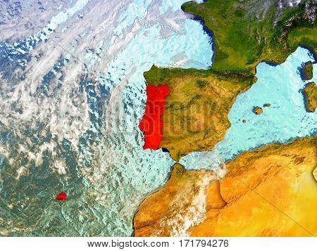 Portugal On Illustrated Globe