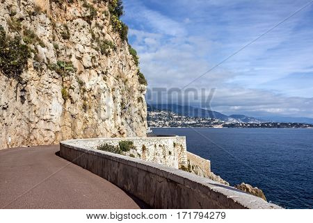 Monaco and Monte Carlo principality. Mountain road