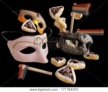 happy purim holiday, jewish traditional holiday background photo on isolate black