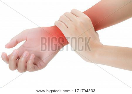 woman holding her beautiful healthy wrist healthy in front side and massaging in pain area with red highlighted Isolated on white background.