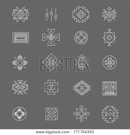 Tribal american indian linear symbols. Line hand drawn traditional mexican icons. Abstract mexican signs illustration