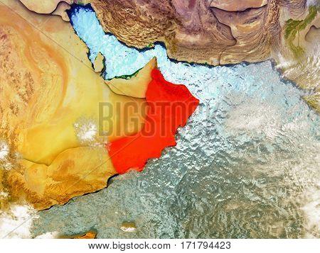 Oman On Illustrated Globe