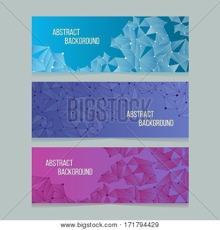 Abstract network digital cells banners. Vector banner backgrounds with connectivity patterns. Poster card with connection molecular node illustration